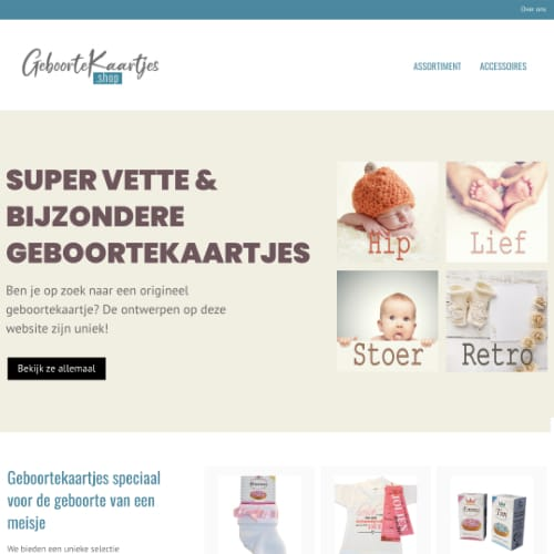 Website Geboortekaartjes shop