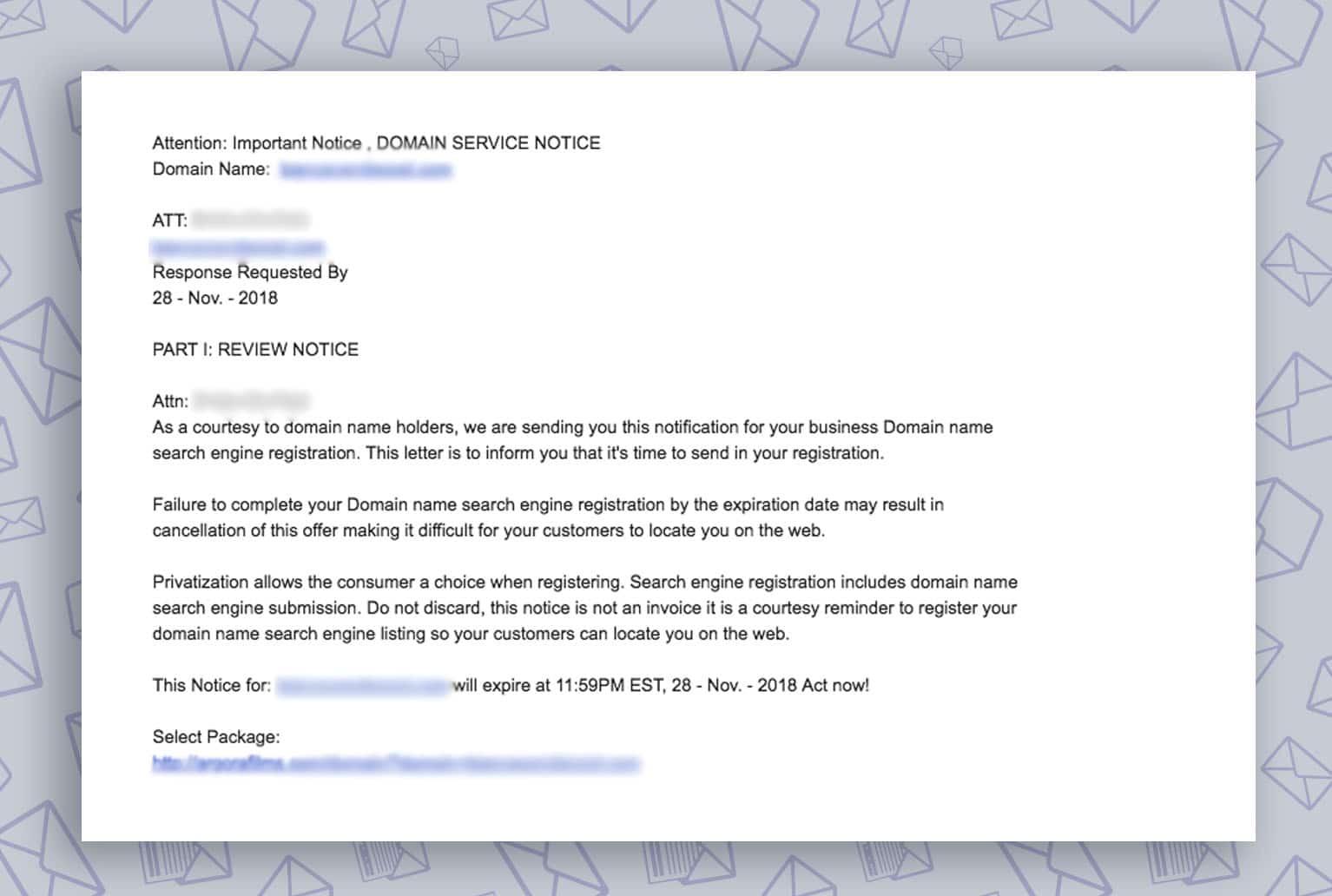 voorbeeld van een scam e-mail